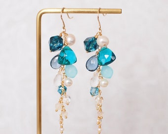Assorted Stones Earrings // Blue Theme // Dangling Style // Gems Cluster // Sparkly & Precious // 14K Gold-filled