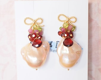 Rainbow Baroque Pearl Earrings // Gems Cluster // Flameball Pearls // 14K Gold-filled // Lovely & Charming