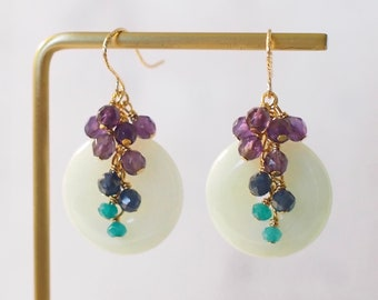 Burmese Jade Donut Earrings // Gem Cluster // Amethyst x Blue Sapphire x Teal Chalcedony // 14K Gold-filled // Elegant & Sophisticated