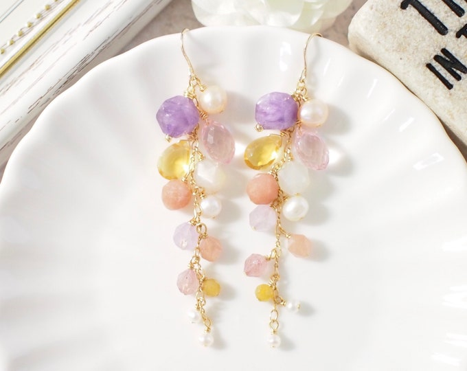 Natural Gems Earrings // Lilac Floral Theme // Dangling Style // Gems Cluster // Sparkly & Precious // 14K Gold-filled