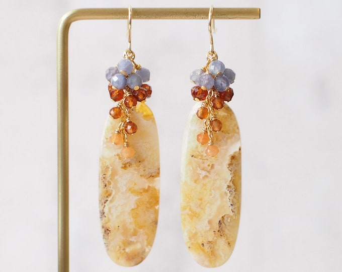 Palm Agate Earrings // Statement Earrings // Gem Cluster // Chalcedony x Garnet x Tanzanite // 14K Gold-filled // Unique & Bold