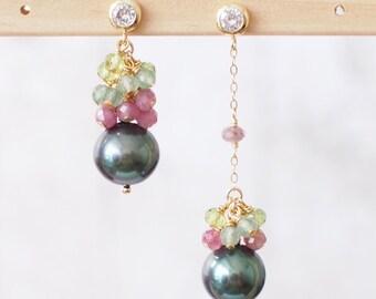 Tahitian Pearl Earrings // Natural Peacock Green // Pink Tourmaline x Peridot x Strawberry Quartz // 14K Gold-filled // Asymmetrical