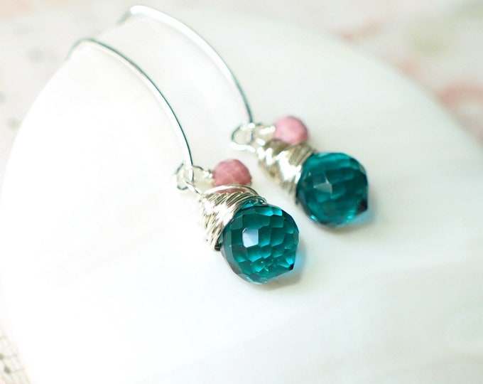 Teal Quartz x Rhodchrosite Earrings // Precious & Sweet // 925 Sterling Silver // Wirewrapped