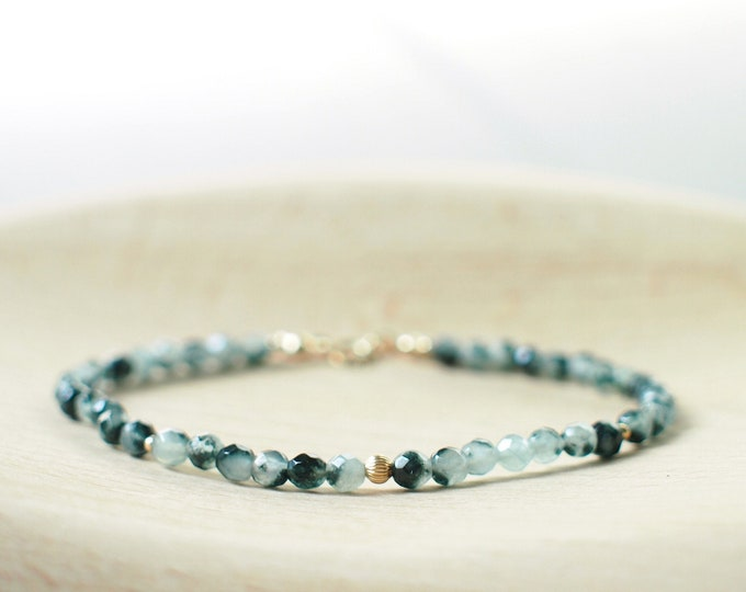 African Green Chalcedony Bracelet // Elegant & Dainty // 14K Gold-filled