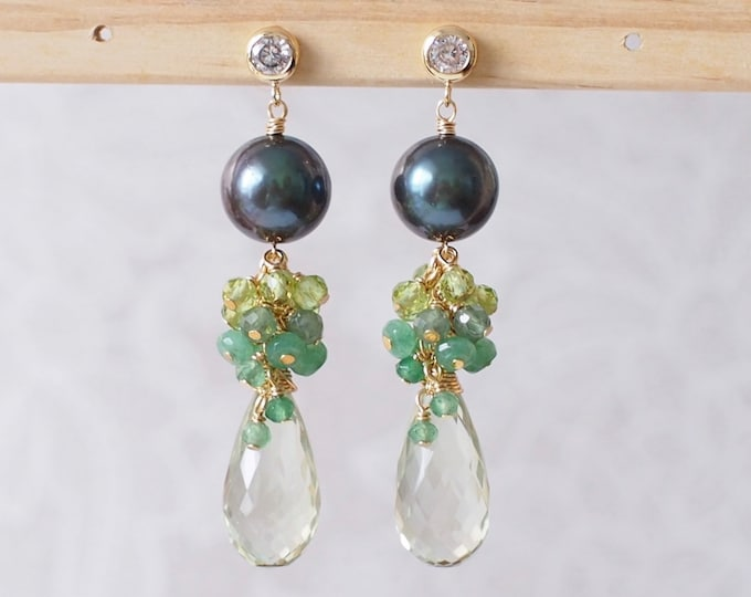 Featured listing image: Tahitian Pearl x Green Amethyst Earrings // Gem Cluster // Chalcedony x Apatite x Peridot // 14K Gold-filled // Elegant and Unique