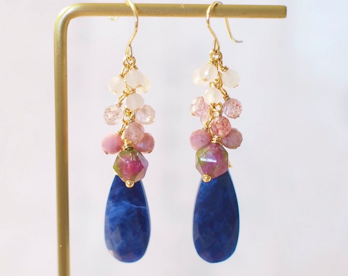 Sodalite Earrings // Gem Cluster Statement Earrings // 14K Gold-filled // Watermelon Tourmaline // Wire-wrapped // Gorgeous & Feminine