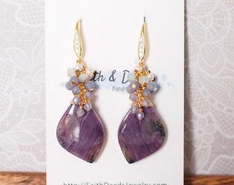 Charoite Earrings // Statement Earrings // 14K Gold-filled // Wire-wrapped // Elegant and Feminine