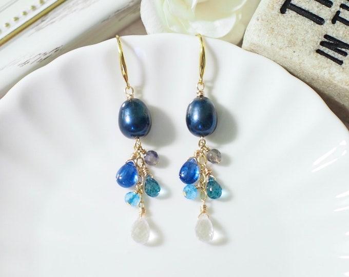 Prussian Blue Baroque Pearl Earrings // Gem Stone Dangles // Kyanite x Iolite x Topaz x Clear Quartz // 14K Gold-filled // Stunning