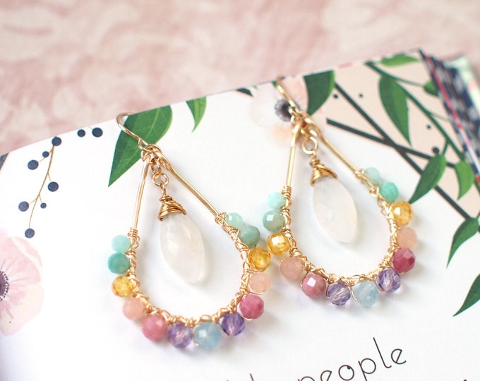 Rainbow Gems x Blue Moonstone Earrings // Sparkly & Precious // 14K Gold-filled // One of a kind