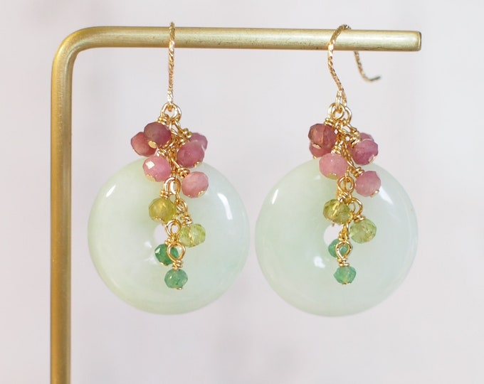 Burmese Jade Buckle Earrings // Gem Cluster // Pink Tourmaline x Peridot x Chalcedony // 14K Gold-filled // Feminine & Pretty