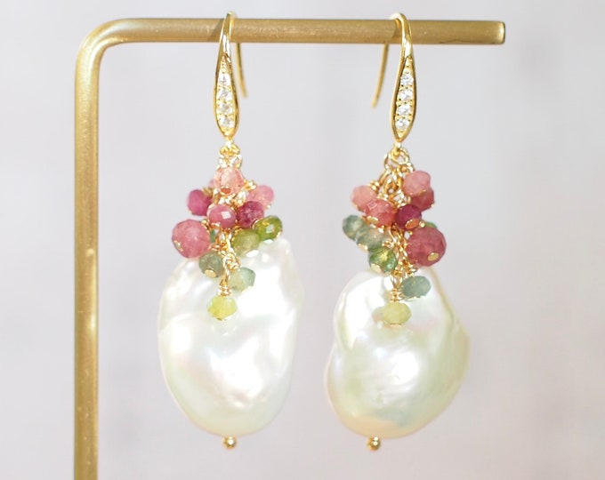 Featured listing image: Baroque Pearl Earrings // Statement Earrings // Gems Cluster // Watermelon Tourmaline // 14K Gold-filled