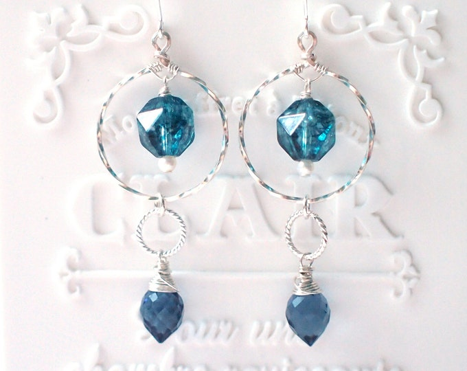 Blue Quartz Earrings // Striking & Chic // 925 Sterling Silver // Wirewrapped // Twisted Hoops