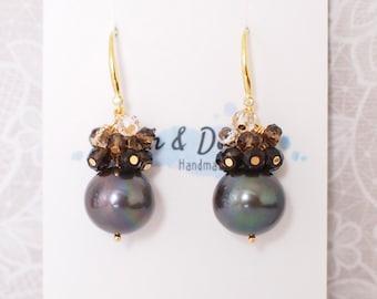 Tahitian Pearl Earrings // Natural Peacock Green // Smokey Quartz Gem Cluster // 14K Gold-filled // Sexy and Elegant