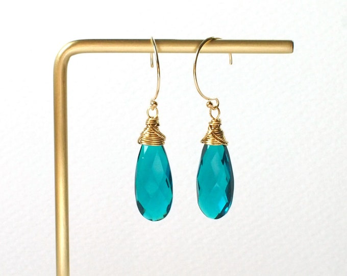 Teal Quartz Earrings // 14K Gold-filled // Wire-wrapped // Sassy & Chic