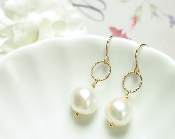 Baroque Pearl Earrings // Twisted Ring // Elegant & Sweet // 14K Gold-filled // Bridal Jewelry