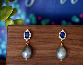 Blue Spinel Earrings // Halo Setting // Gray Baroque Pearl Dangles // Cubic Zirconia // 14K Yellow Gold Plated Over Silver