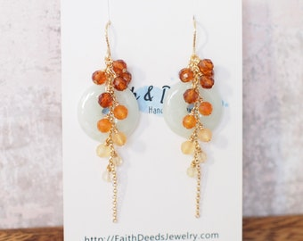 Type A Burmese Jade Donut Earrings // Long Cascading Gems  // Orange Ombre // 14K Gold-filled // Unconventional & Stylish