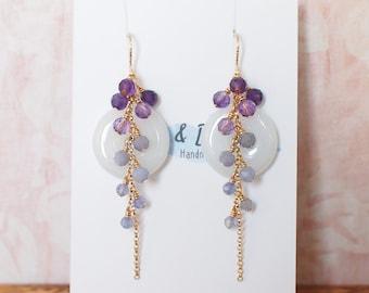 Type A Burmese Jade Donut Earrings // Long Cascading Gems  // Purple Ombre // 14K Gold-filled // Unconventional & Elegant