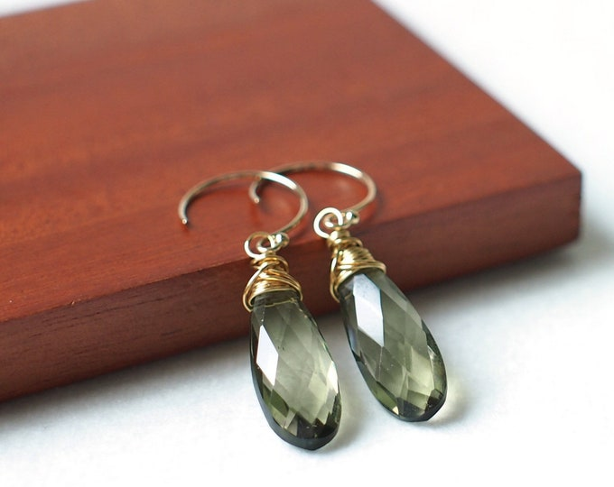 Olive Green Quartz Earrings // Faceted // 14K Gold-filled // Chic & Sassy