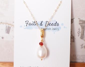 Teardrop Fresh Water Pearl Pendant // Garnet Dangle // 14K Gold-filled // Simple & Elegant