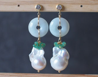 Burmese Jade Donut x Baroque Pearl Earrings // 14K Gold-filled // Elegant & Unique