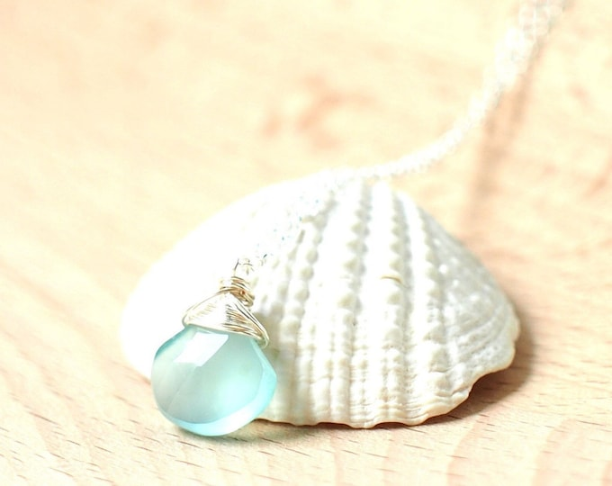 Aqua Chalcedony Necklace // Gem Stone Pendant // Wirewrapped // 925 Sterling Silver // Dainty & Chic
