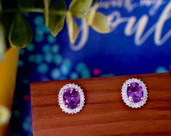 Amethyst Earrings // Halo Setting // Cubic Zirconia // 18K Yellow & White Gold Plated Over Silver