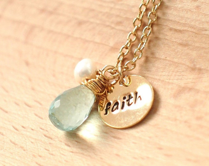 Personalized Necklace // Genuine Gem Stones // 14K Gold-filled // 925 Sterling Silver //Pearl Charm