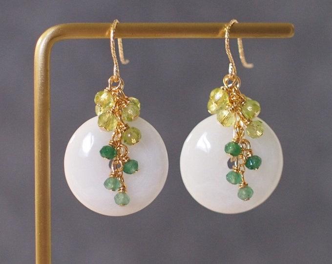 Burmese Jade Buckle Earrings // Gem Cluster // Peridot x Green Chalcedony // 14K Gold-filled // Elegant & Sophisticated