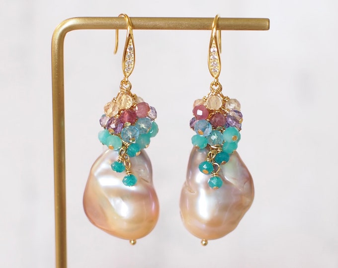 Rainbow Baroque Pearl Earrings // Gems Cluster // Flameball Pearls // Unicorn Colour // 14K Gold-filled // Colourful and Fun