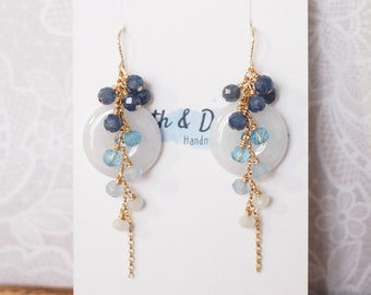 Type A Burmese Jade Donut Earrings // Long Cascading Gems  // Blue Ombre // 14K Gold-filled // Unconventional & Stylish