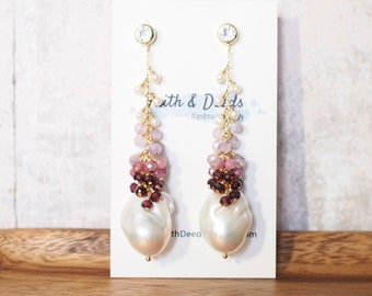White Baroque Pearl Earrings // Flameball Pearls // Pink Gem Cluster // Dangling Style // 14K Gold-filled // Sweet & Stunning