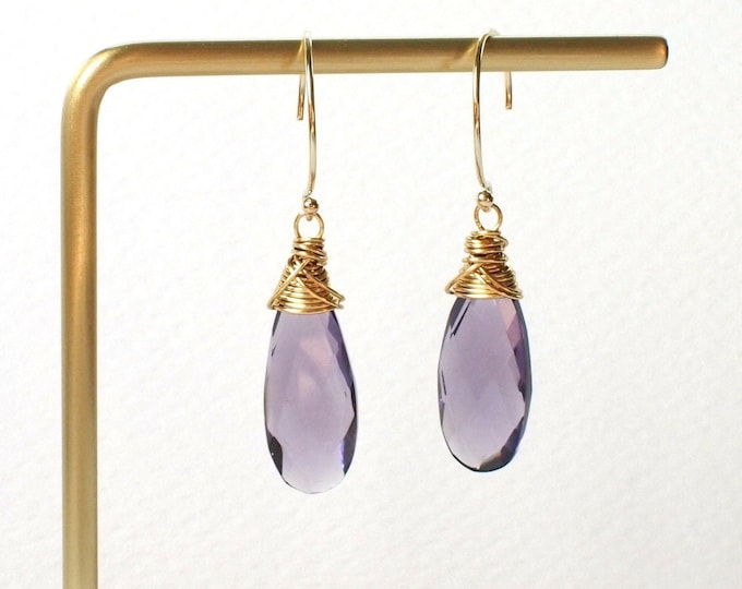 Amethyst Earrings // 14K Gold-filled // Wire-wrapped // Sophisticated & Chic
