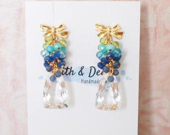 Natural Rock Crystal Earrings // Gems Cluster // 14K Gold-filled // Wire-wrapped // Lovely & Refreshing