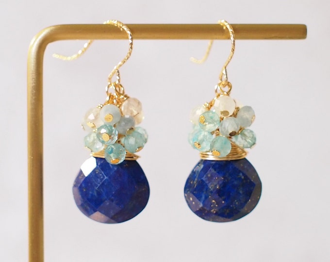 Lapis Lazuli Earrings // Gem Cluster // Topaz x Aquamarine x Moonstones // 14K Gold-filled // Wire-wrapped // Royal & Chic