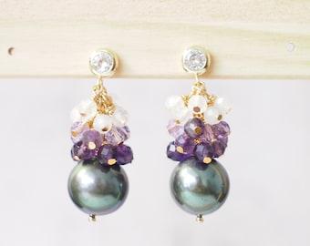 Tahitian Pearl Earrings // Natural Peacock Green // Gem Cluster // Amethyst x Moonstone // 14K Gold-filled // Elegant and Timeless
