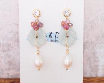 Type A Burmese Carved Jade Flower Earrings // Fresh Water Pearls // 14K Gold-filled // Sweet & Graceful