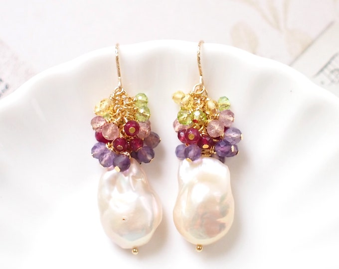 Baroque Pearl Earrings // Flameball Pearls// Colourful Gems Cluster // Elaborated // 14K Gold-filled // Elegant & Gorgeous