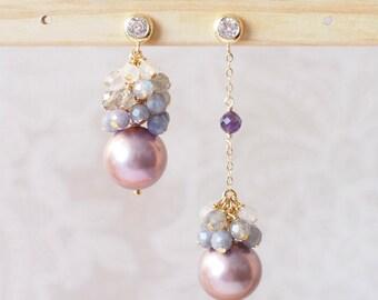Purple Edison Pearl Earrings // Gem Cluster // Tanzanite x Labradorite x Moonstones // 14K Gold-filled // Asymmetrical // One of a Kind