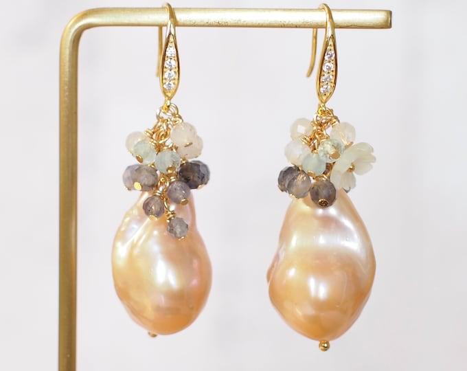 Golden Baroque Pearl Earrings // Gems Cluster // Flameball Pearls // Iolite x Aquamarine x Moonstones // 14K Gold-filled // Romantic