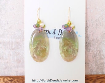 Moss Agate Earrings // Statement Earrings // 14K Gold-filled // Wire-wrapped // Unique and Understated