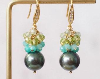 Tahitian Pearl Earrings // Natural Peacock Green // Amazonite x Peridot x Strawberry Quartz // 14K Gold-filled // Refreshing & Gorgeous