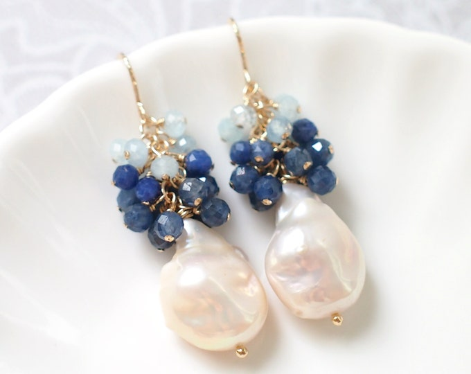 Baroque Pearl Earrings // Blue Gems Cluster // Blue Sapphire x Aquamarine // Elaborated // 14K Gold-filled // Elegant & Graceful