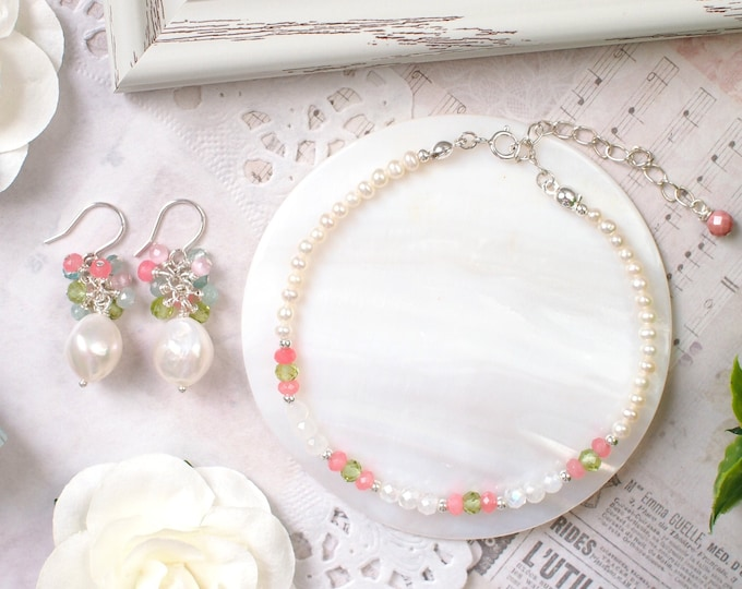 Floral Theme Pearl x Gems Earrings + Bracelet Set // Beautiful & Sweet // 925 Sterling Silver