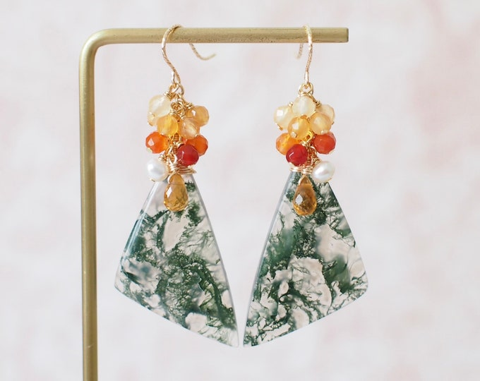 Moss Agate Earrings // Statement Earrings // Gems Cluster // Pearl x Citrine Quartz x Agate // 14K Gold-filled // Unique & Sophisticated