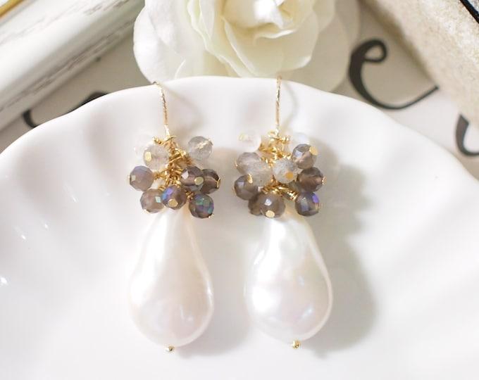 Baroque Pearl Earrings // Gems Cluster // Gray Quartz x Labradorite x Moonstones // 14K Gold-filled // Elegant & Timeless