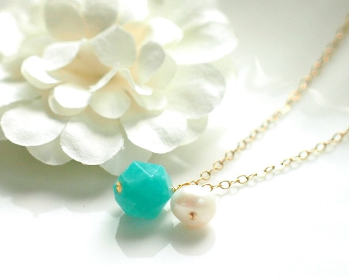 Amazonite x Pearl Necklace // Gem Stone Pendant // 14K Gold-filled // Refreshing & Sweet
