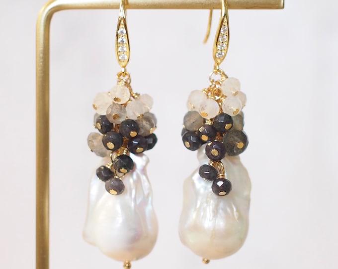 Baroque Pearl Earrings // Flameball Pearls /Gray Chalcedony x Labradorite x Moonstones // 14K Gold-filled // Elegant & Timeless