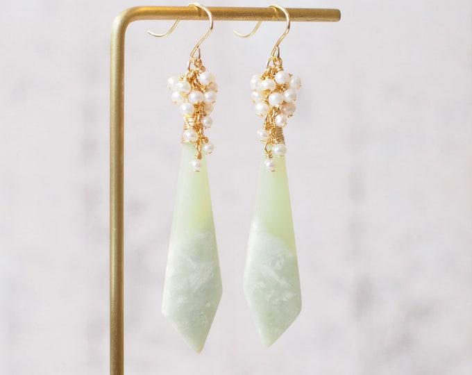Bowenite Earrings // Statement Earrings // Pearl Cluster // 14K Gold-filled // Graceful & Sophisticated