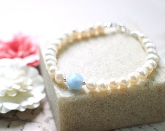 Pearl Bracelet // Aquamarine Charm // 925 Sterling Silver // Stackable // Chic & Dainty